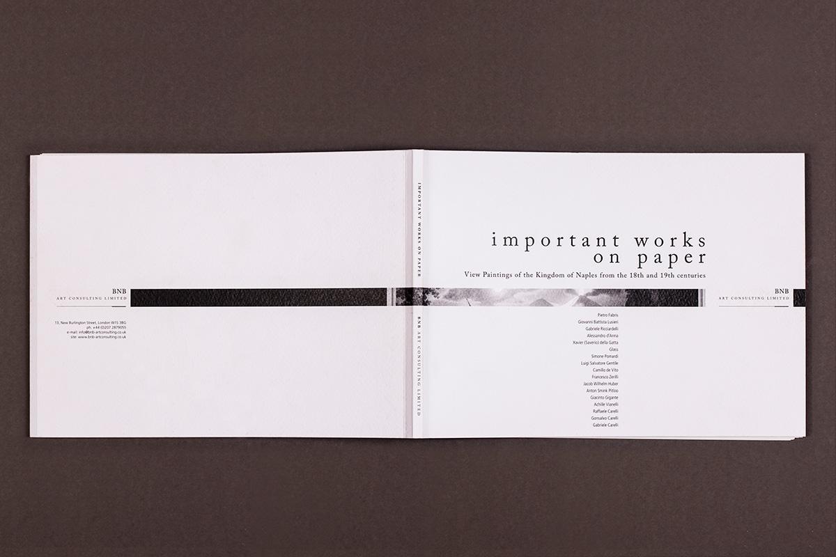 BNB - prima e quarta di copertina del catalogo della mostra: important work on paper