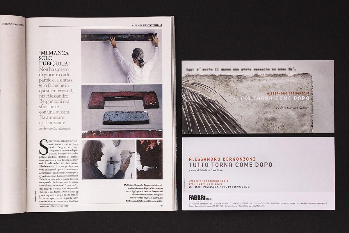 Foto per l'articolo su IO Donna e dell'invito alla mostra