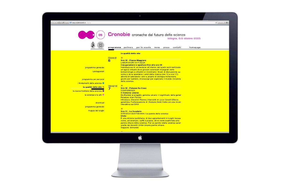 Cronobie, Sito web, programma